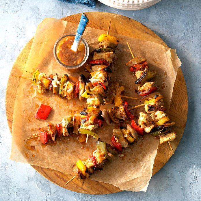 Bratwurst and Chicken Kabobs