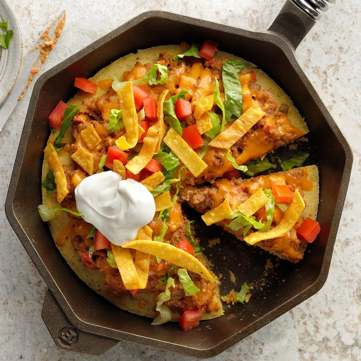 October 8: Taco Skillet Pizza with Cornbread Crust