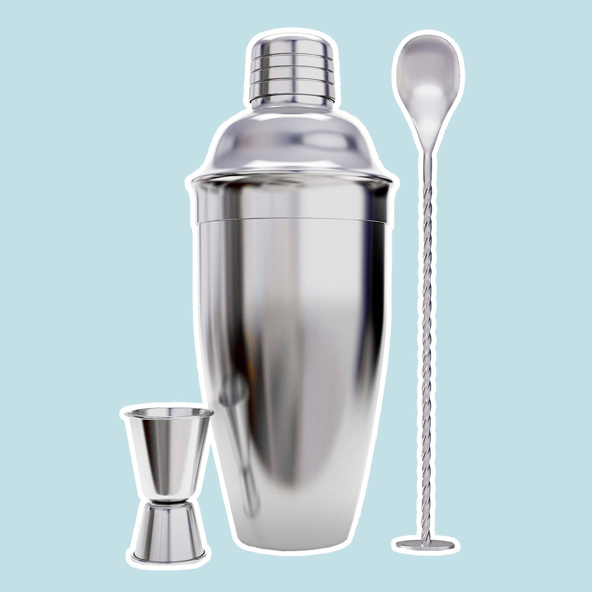 24 Ounce Cocktail Shaker Bar Set with Accessories - Martini Kit with Measuring Jigger and Mixing Spoon plus Drink Recipes Booklet - Professional Stainless...