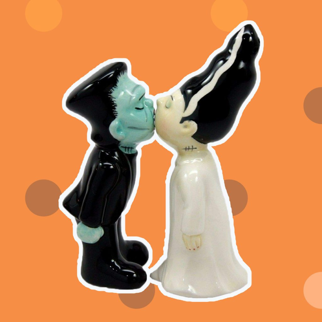 Zombies Monster and Bride Magnetic Ceramic Halloween Salt and Pepper Shakers