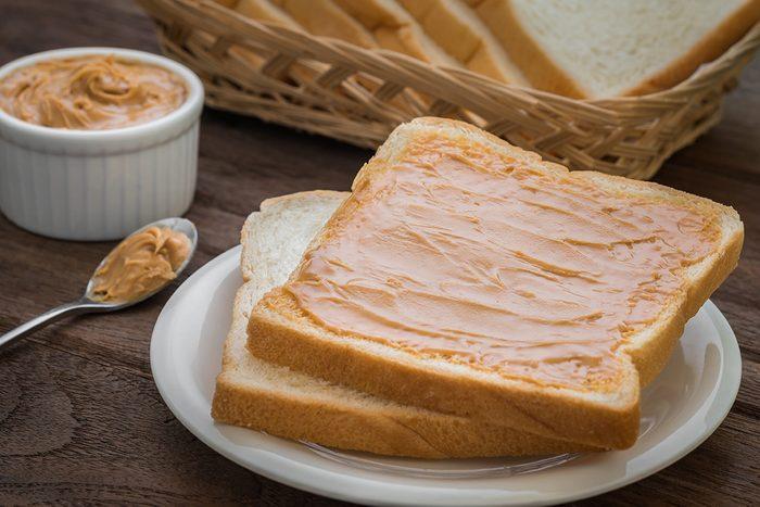 Peanut butter sandwich on plate