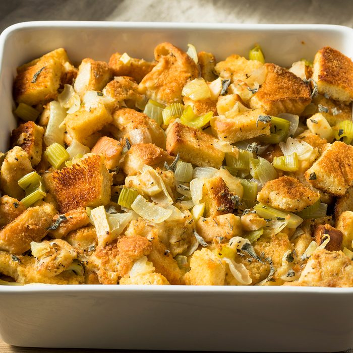 Homemade Bread Stuffing for Thanksgiving Dinner with Sage; Shutterstock ID 1207094089; Job (TFH, TOH, RD, BNB, CWM, CM): TOH