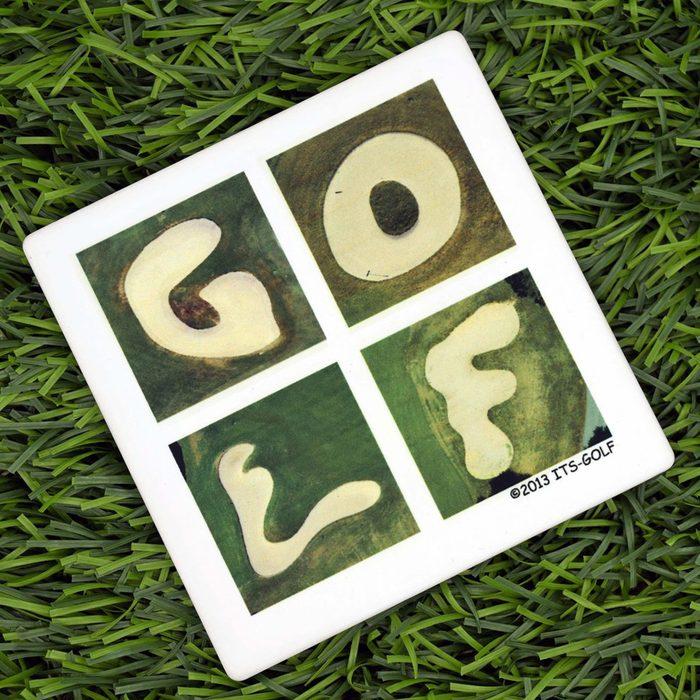 GOLF Gift Set - Wooden Tray 2 Mugs & 2 Coasters