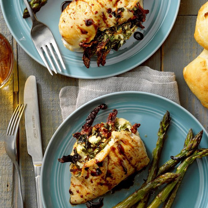 March: Goat Cheese and Spinach Stuffed Chicken