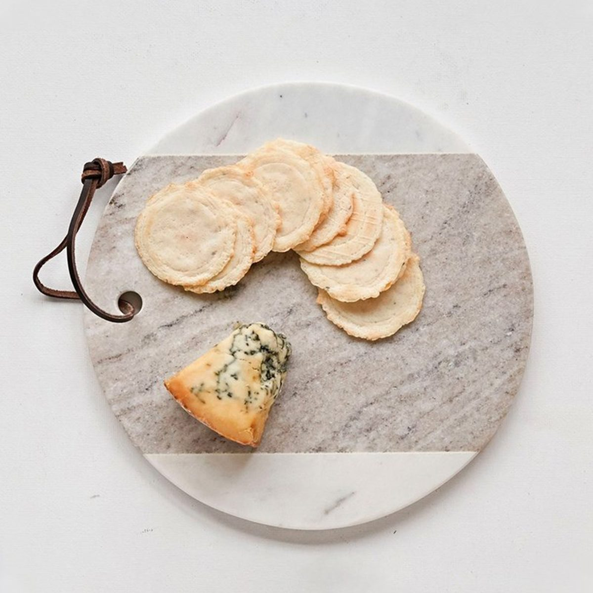 """GREY & WHITE ROUND MARBLE CHEESE BOARD / 9"""""""