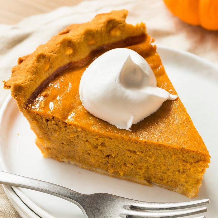 Sweet Homemade Thanksgiving Pumpkin Pie Ready to Eat; Shutterstock ID 1185116455; Job (TFH, TOH, RD, BNB, CWM, CM): TOH