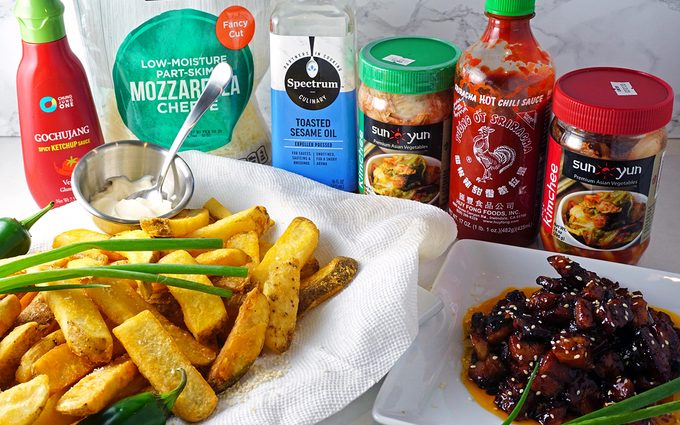 ingredients for making kimchi fries