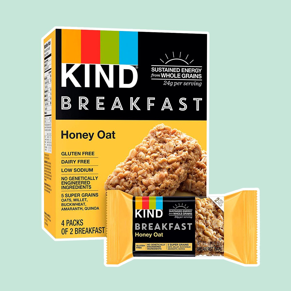 KIND Breakfast Bars, Honey Oat, Gluten Free, 1.8 Ounce, 32 Count