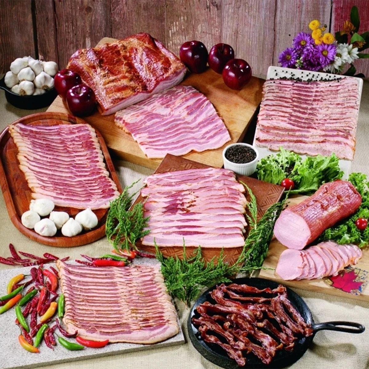 Nodine's Smokehouse brand display of bacon