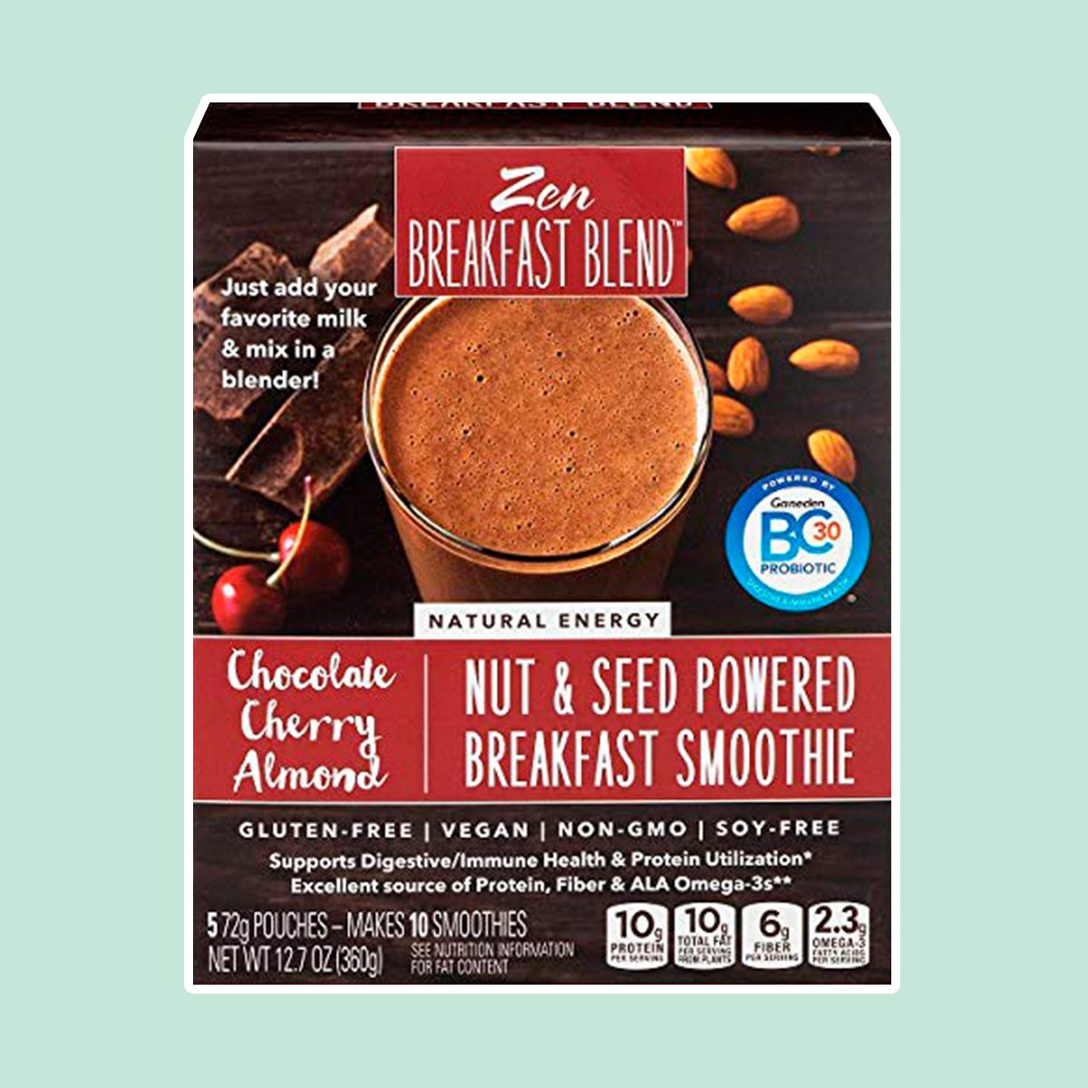 Zen Breakfast Blend, Chocolate Breakfast Smoothie Pouches - Cherry Almond