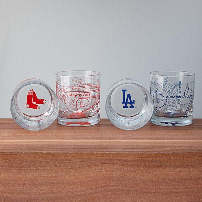 gifts for men Baseball Park Map Glasses Set Of 2