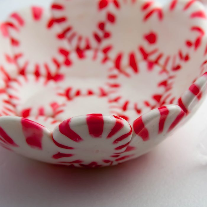 Beautiful candy bowls made out of peppermint candy