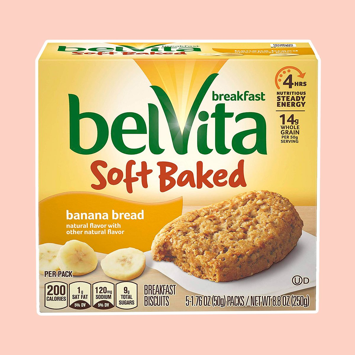 belVita Soft Baked Breakfast Biscuits, Banana Bread Flavor, 30 Packs (1 Biscuit Per Pack)