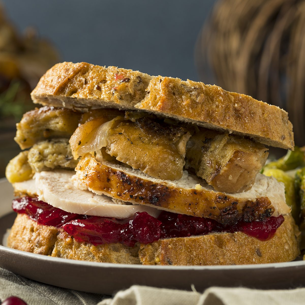 Homemade Thanksgiving Leftover Turkey Sandwich with Stuffing and Cranberry