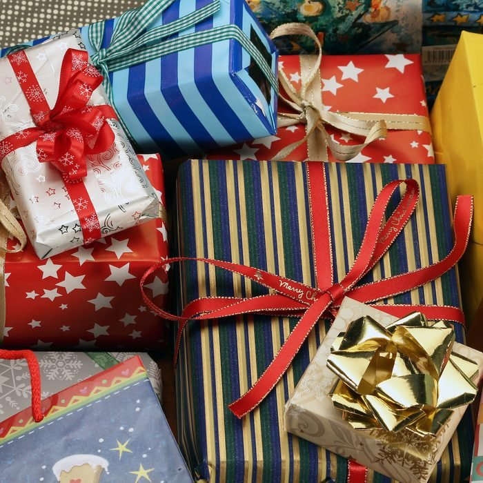 pile of wrapped christmas presents