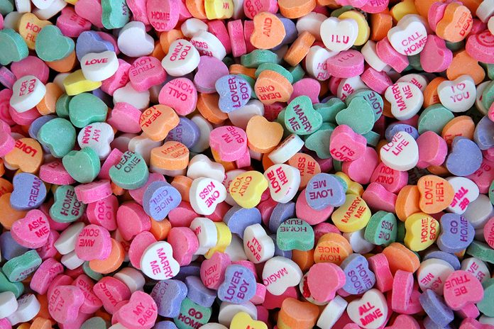 Full frame photo of valentine's day conversation hearts