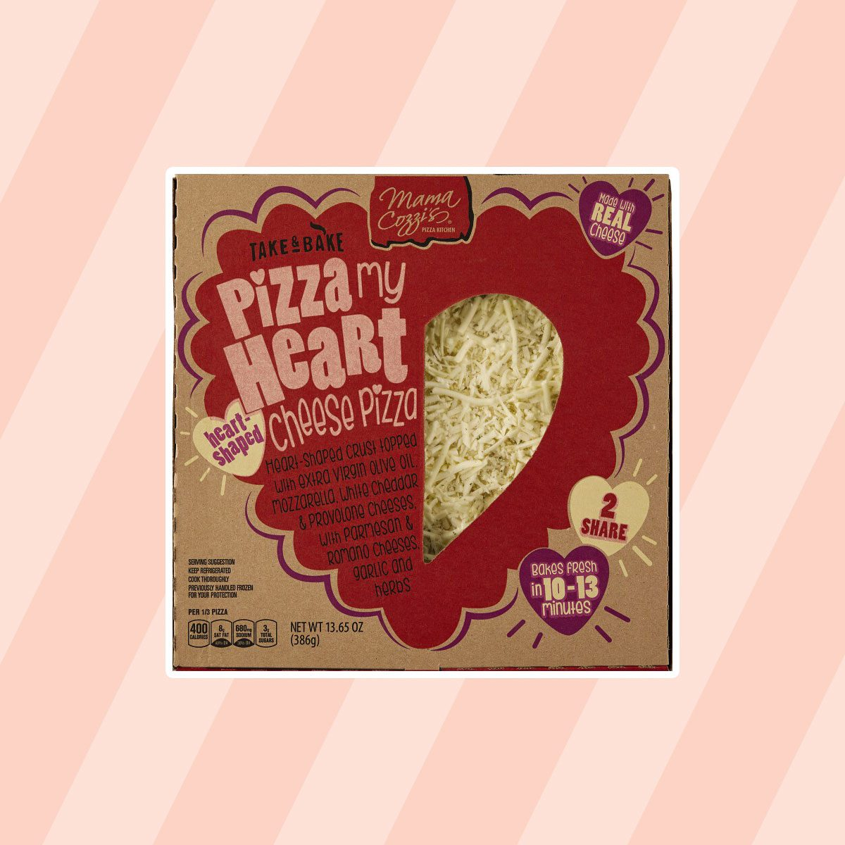 Mama Cozzi's Pizza Kitchen Heart Shaped Cheese Deli Pizza aldi finds