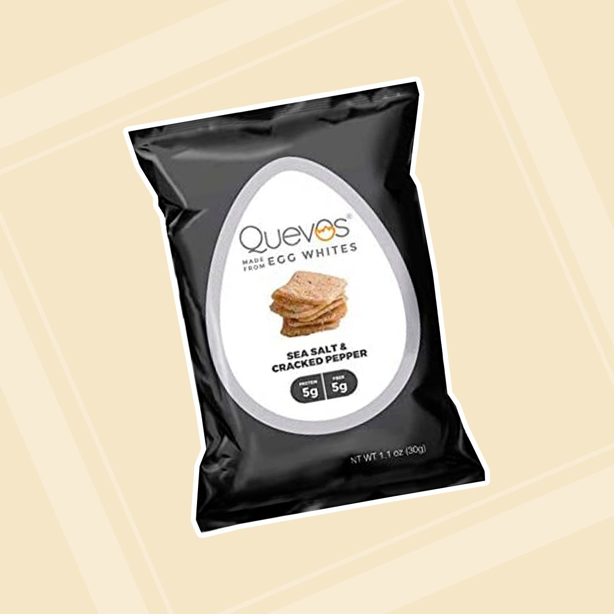 12 Pack of Quevos Sea Salt & Cracked Pepper - High Protein Egg White Chips