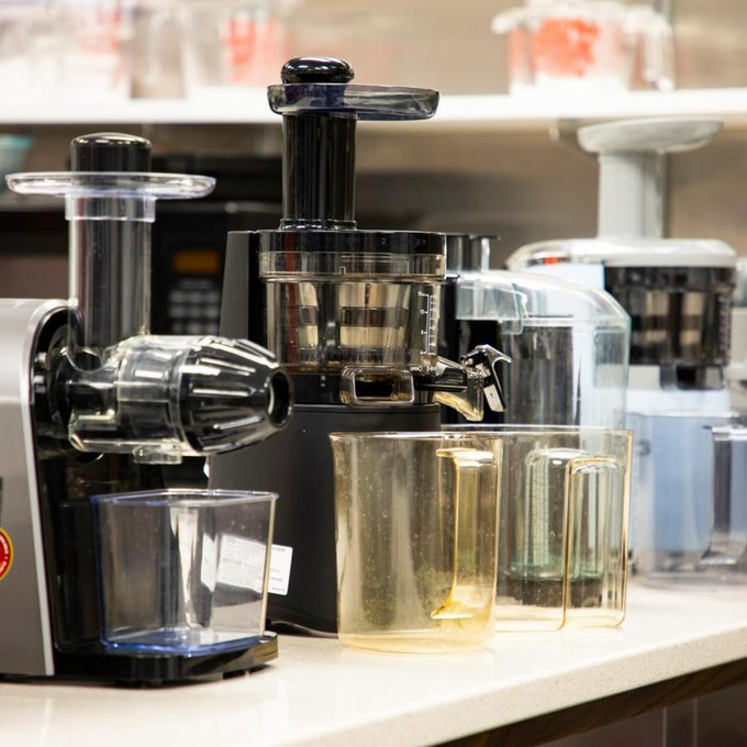 multiple juicers on counter