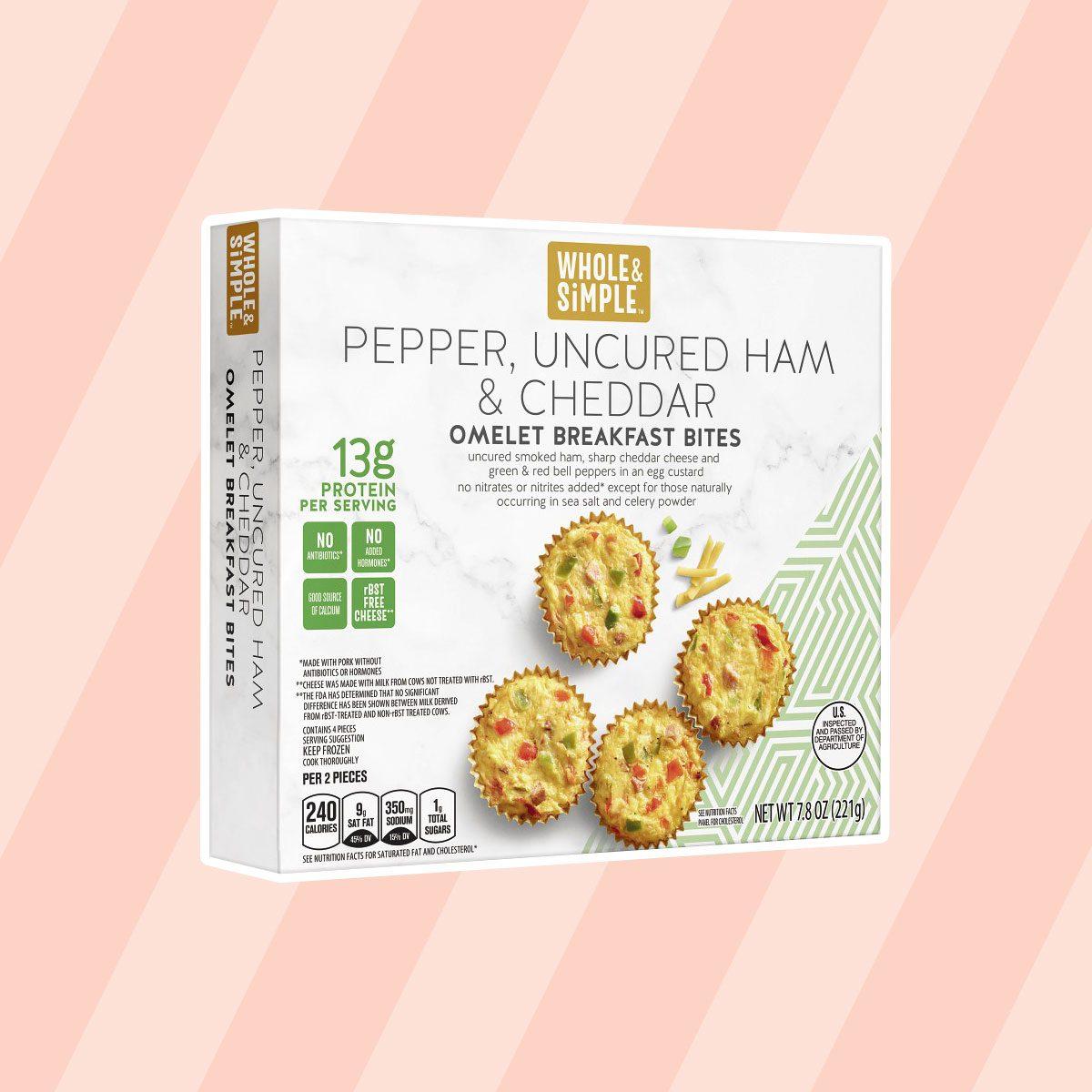 Pepper, Uncured Ham and Cheddar Omelet Breakfast Bites aldi finds