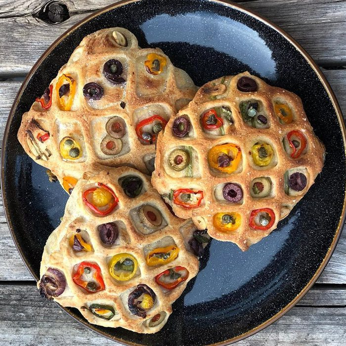 quilted focaccia buns with peppers and olives