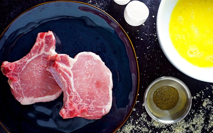 Ingredients for frying pork chops