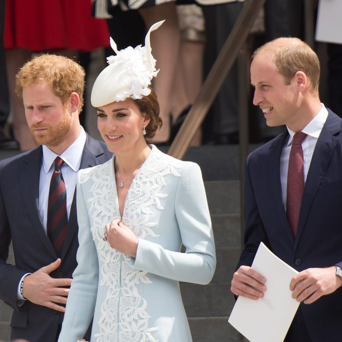 Princess Kate Middleton, Prince William and Harry are seen on the steps of St Pauls on the June 10, 2016 in London, UK