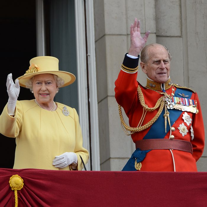 Queen Elizabeth II and Duke of Edinburgh attend the Trooping Of The Colour at Horse Guards Parade, London, UK. June 16, 2012