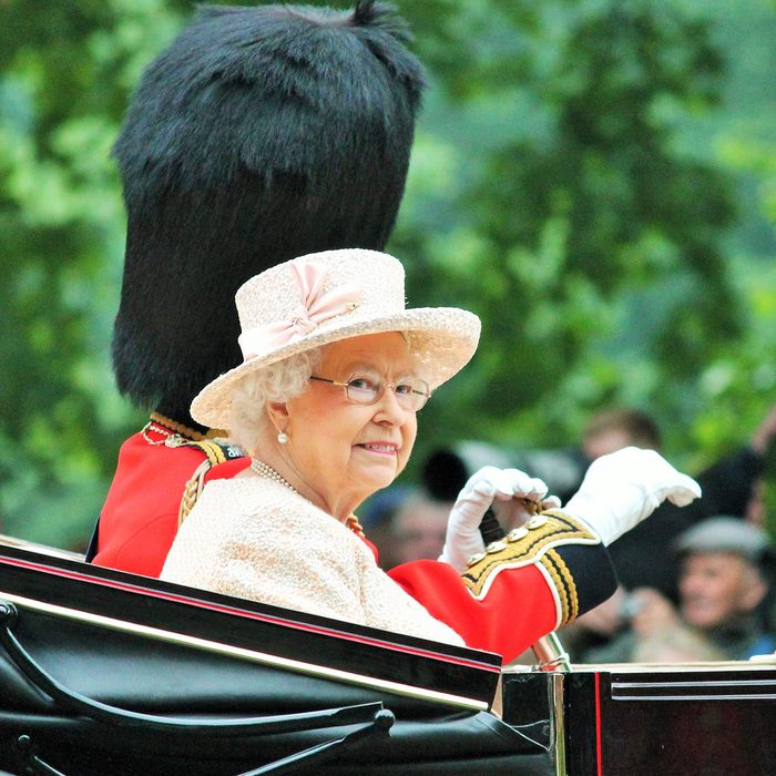 Queen Elizabeth II and Duke of Edinburgh Trooping The Colour at Horse Guards Parade, during Trooping the Colour ceremony, on June 13, 2015 in London, England, UK