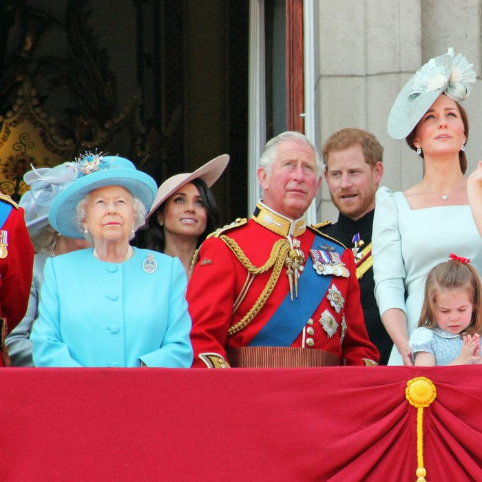 Queen Elizabeth London uk 9June 2018- Meghan Markle Prince Harry George William Charles Kate Middleton & Princess Charlotte Trooping the colour Royal Family Buckingham Palace