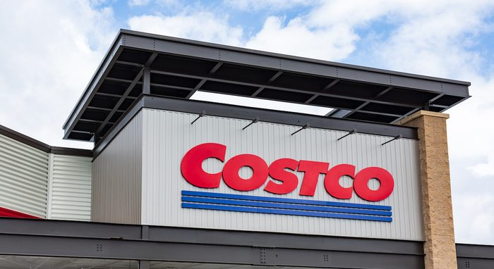 The COSTCO logo on the front exterior of a local store.