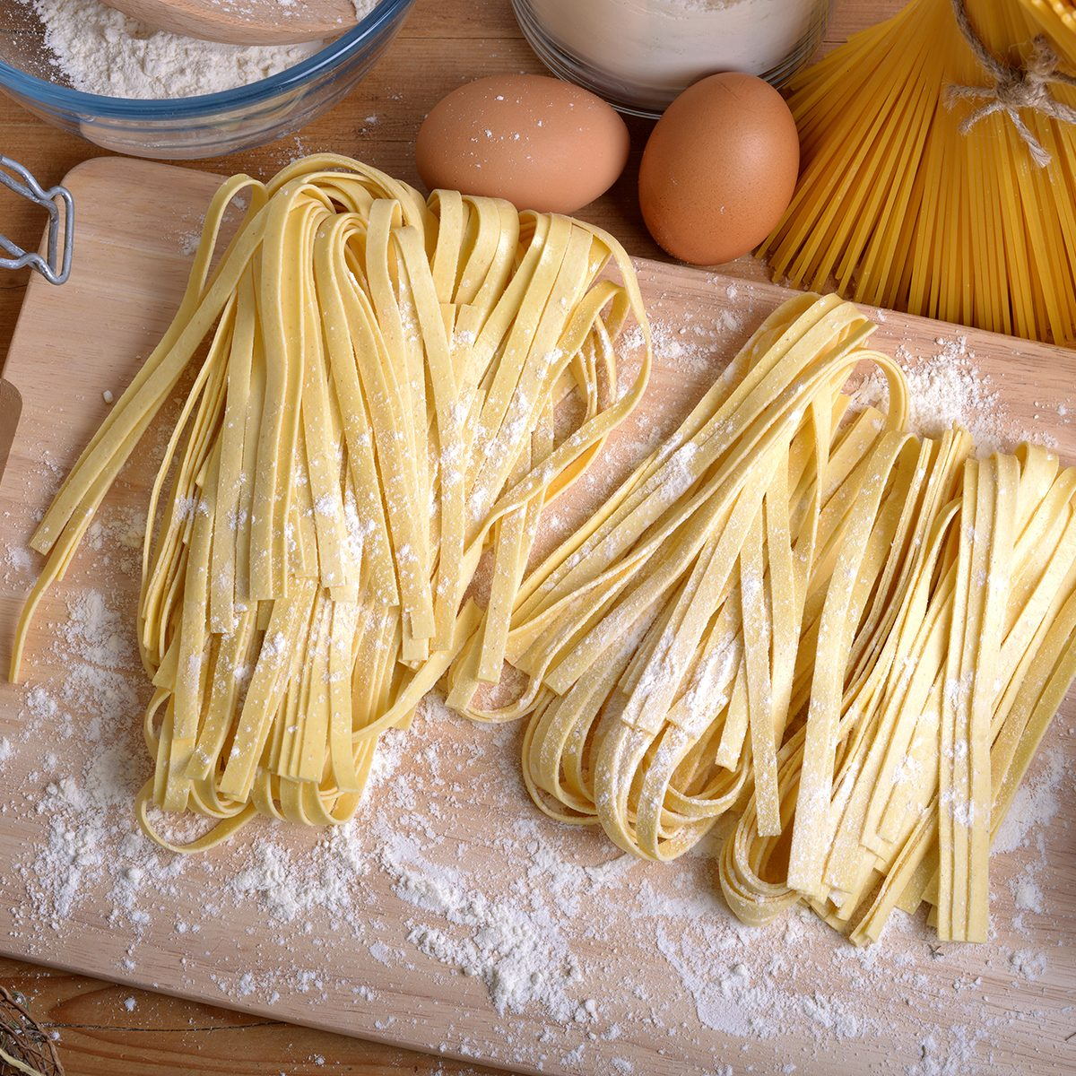 pappardelle homemade pasta typical italian close up