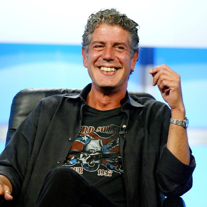 """BEVERLY HILLS, CA - JULY 16: Host Anthony Bourdain attends the panel discussion for """"Anthony Bourdain: No Reservations"""" during the Discovery Networks' Travel Channel presentation at the 2005 Television Critics Association Summer Press Tour at the Beverly Hilton Hotel on July 16, 2005 in Beverly Hills, California. (Photo by Frederick M. Brown/Getty Images)"""
