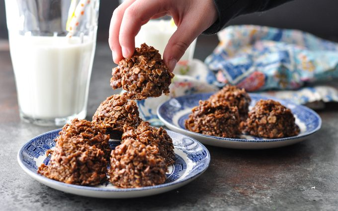 No-bake chocolate oatmeal cookies on a plate