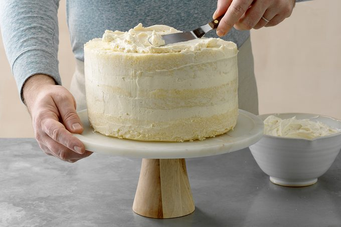 Best Vanilla Buttercream; Steel surface; low; lower camera angle; How to; step 15; Lightly frosted