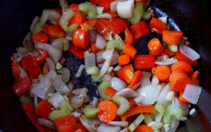 sauteeing vegetables
