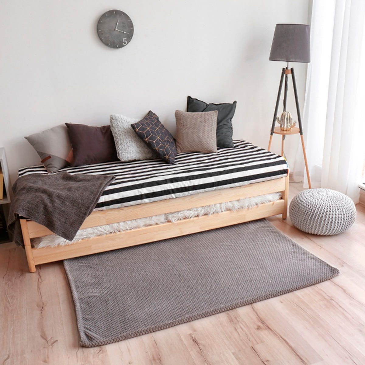 Black and white bed