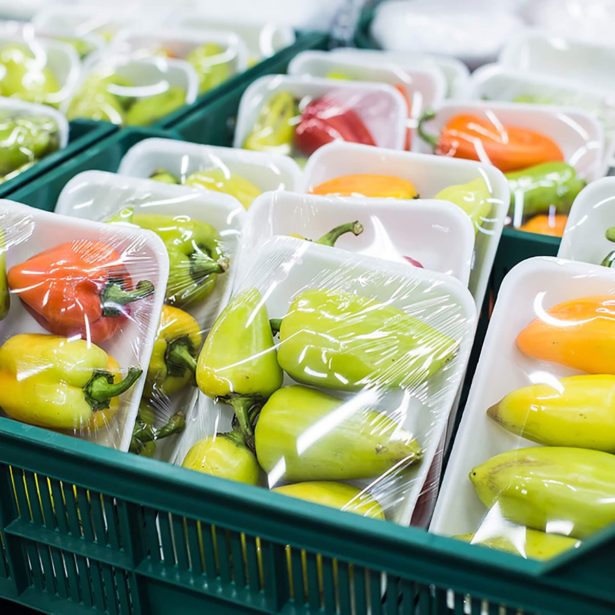 Bulgarian pepper in a box on a shelf in a supermarket; Shutterstock ID 551060236