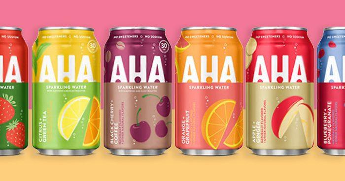 row of coca cola's AHA on bright background