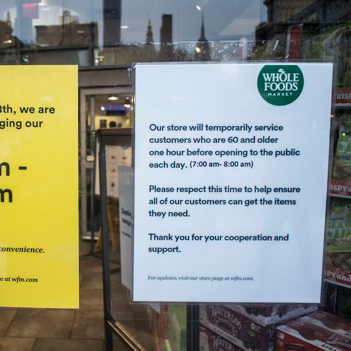 NEW YORK, NY - March 18 MANDATORY CREDIT Bill Tompkins/Getty Images WHole Foods chage of hours of operation due to the coronavirus COVID-19 pandemic on March 18, 2020 in New York City. (Photo by Bill Tompkins/Getty Images)