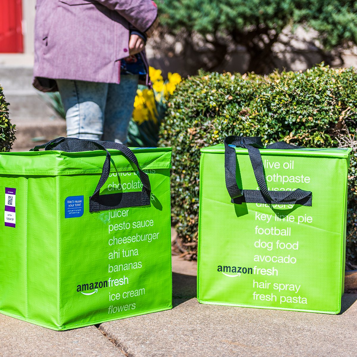 Amazon Fresh insulated grocery delivery bags on front porch closeup