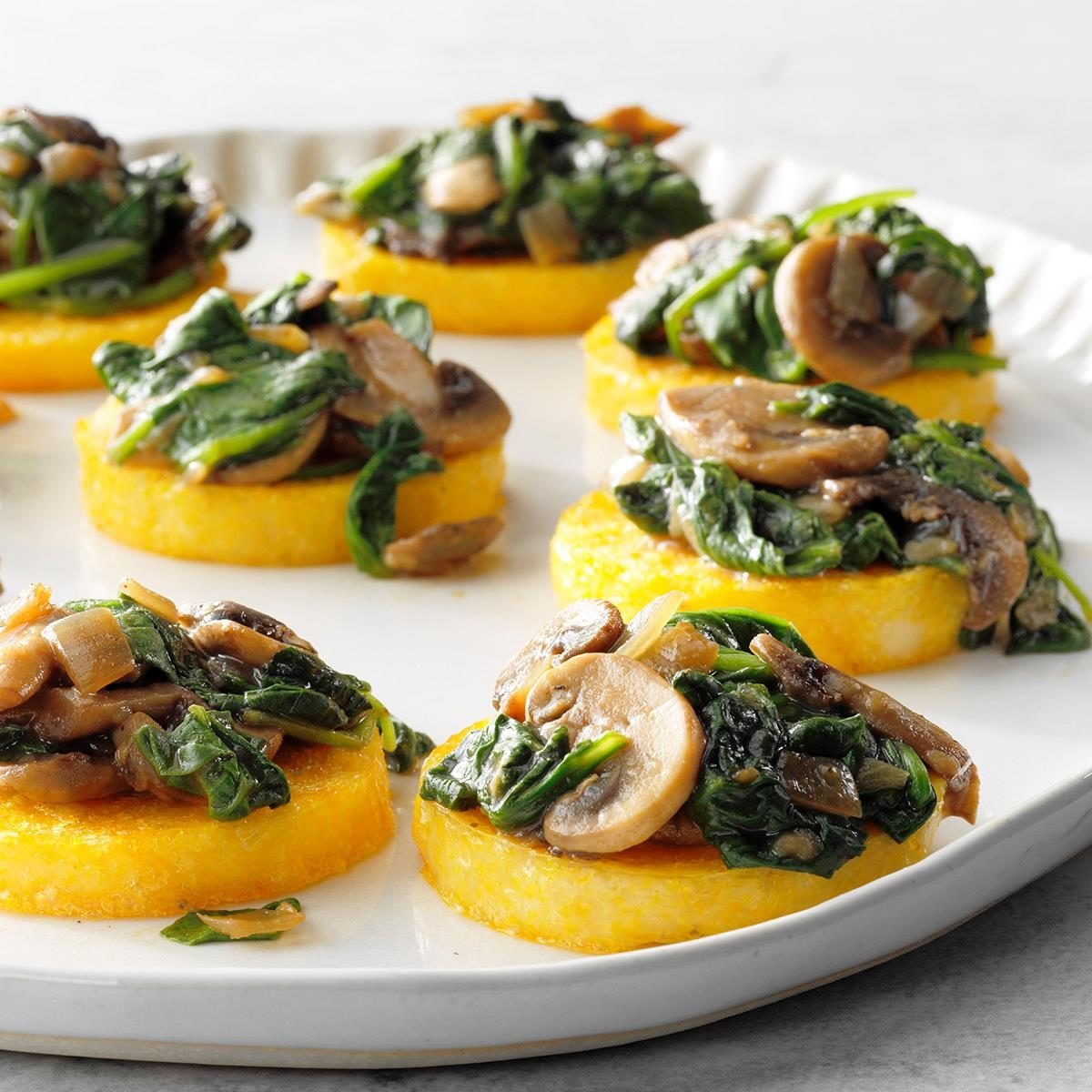 Vegan Polenta with Mushrooms and Spinach