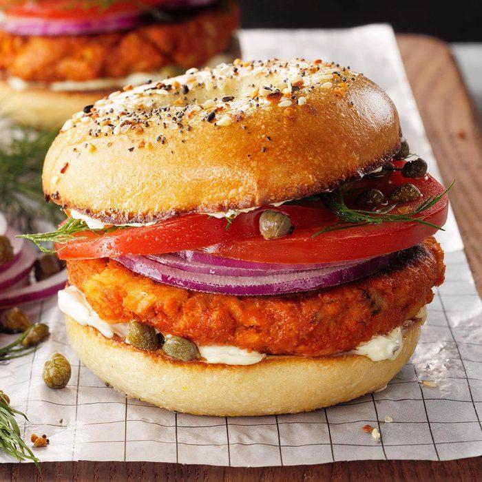 Salmon Croquette Breakfast Sandwich Exps Tohescodr20 243593 E03 12 7b 19