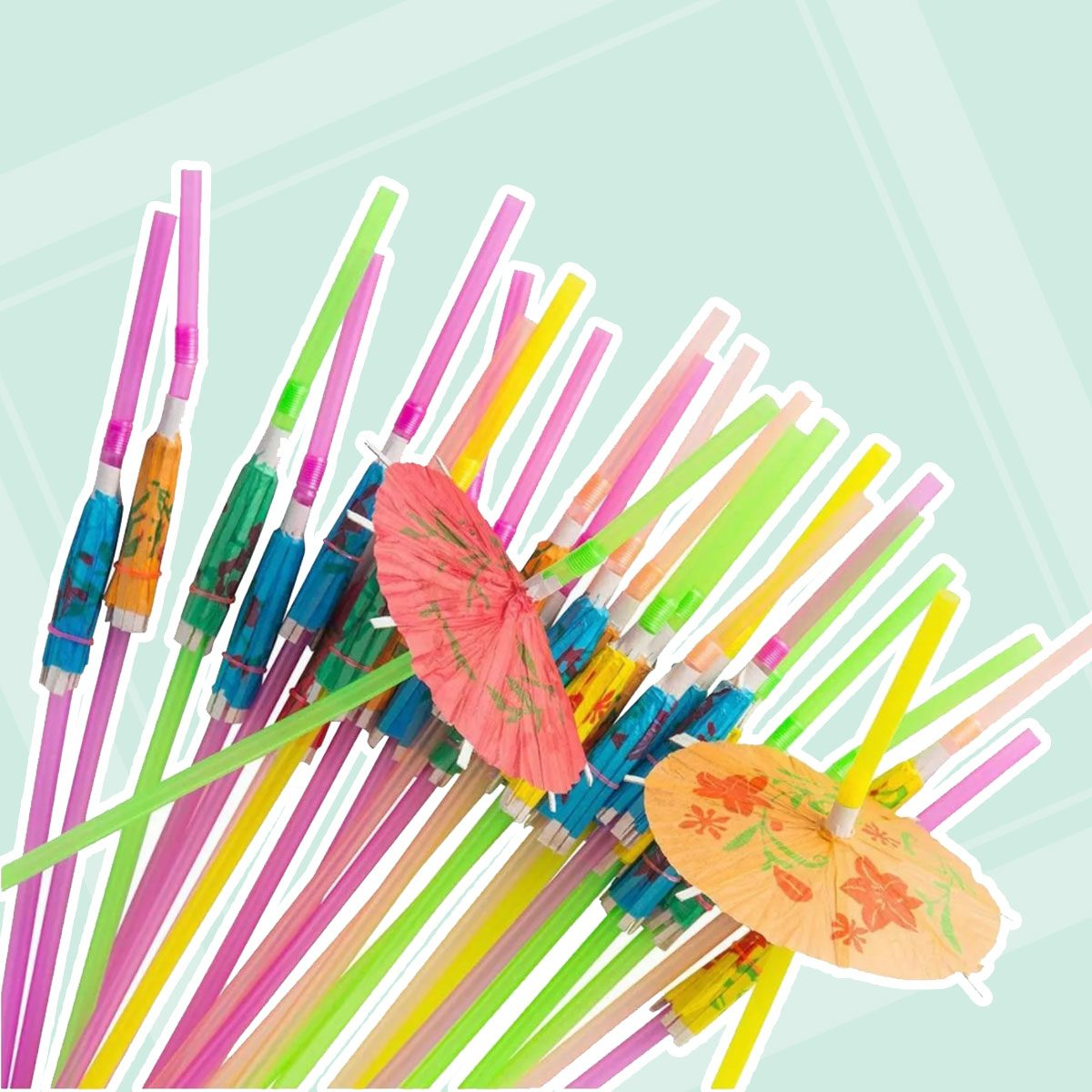 Blue Panda Disposable Tropical Hawaiian Luau Party Umbrella Cocktail Drink Straws, Assorted, 150 Pack