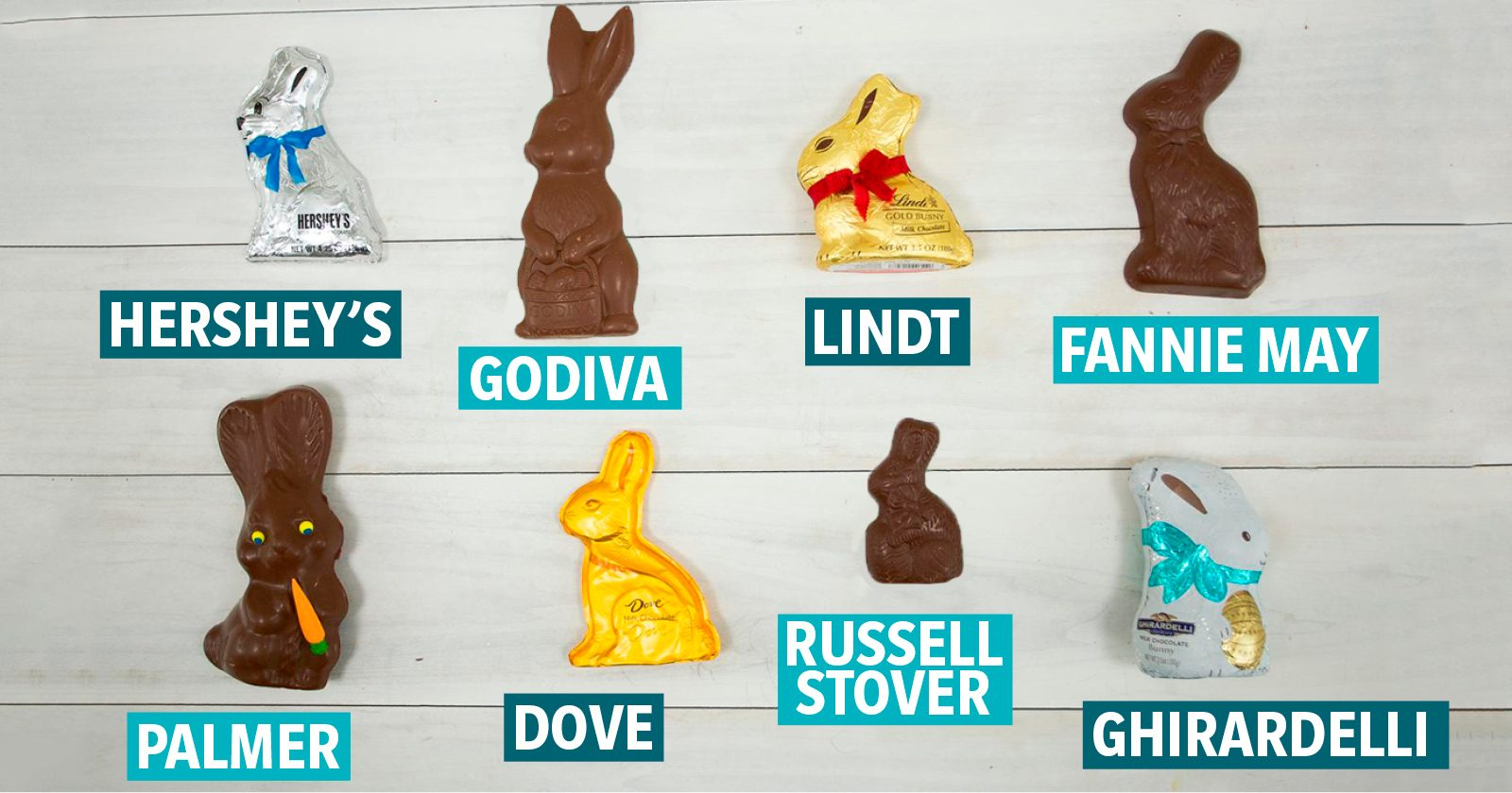 chocolate bunny taste test dive fanny may russell stover palmer hersney's lindt godiva girardelli