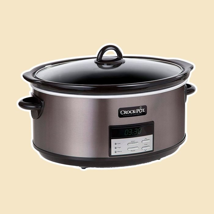 Crock Pot Slow Cooker|8 Quart Programmable Slow Cooker with Digital Countdown Timer, Black Stainless Steel - SCCPVFC800-DS