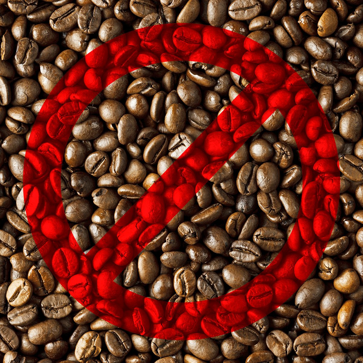 Coffee beans with the no symbol over them