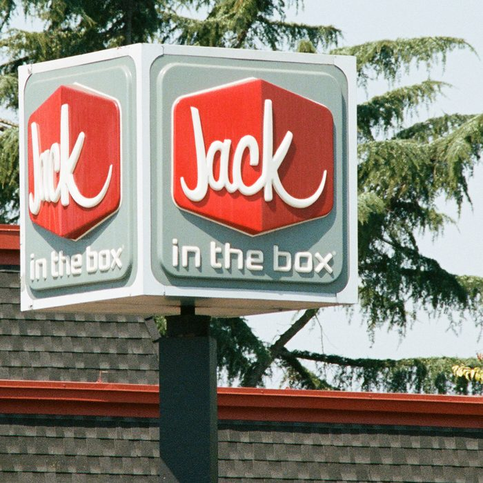 Close-up of signage with logo for Jack in the Box, a regional fast food restaurant in the Silicon Valley, Santa Clara, California, August 17, 2017. (Photo via Smith Collection/Gado/Getty Images)
