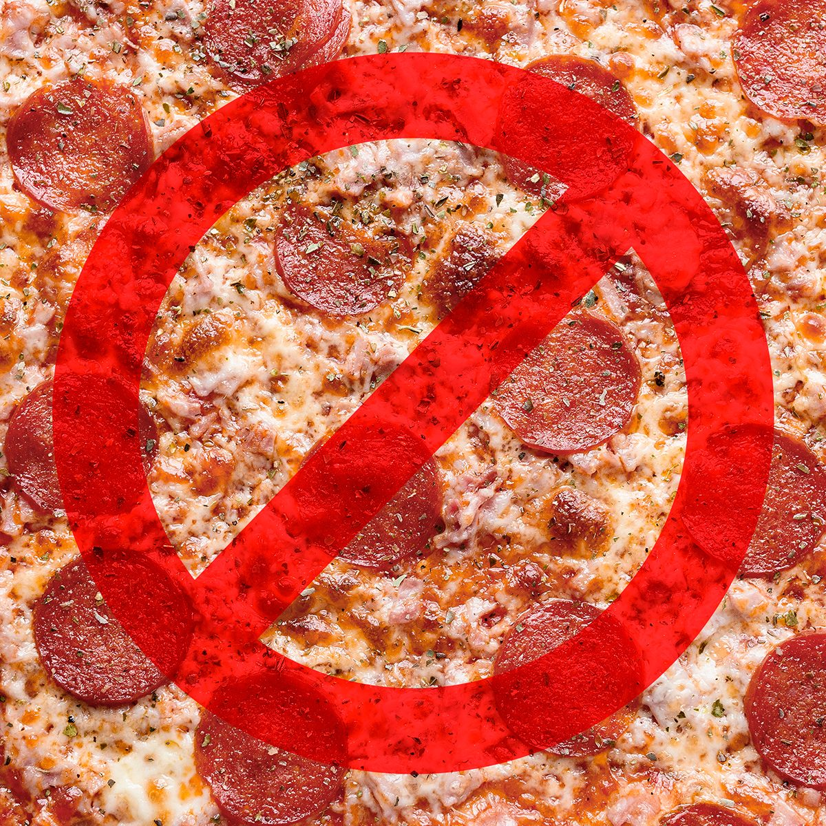 Pizza close-up with a no symbol