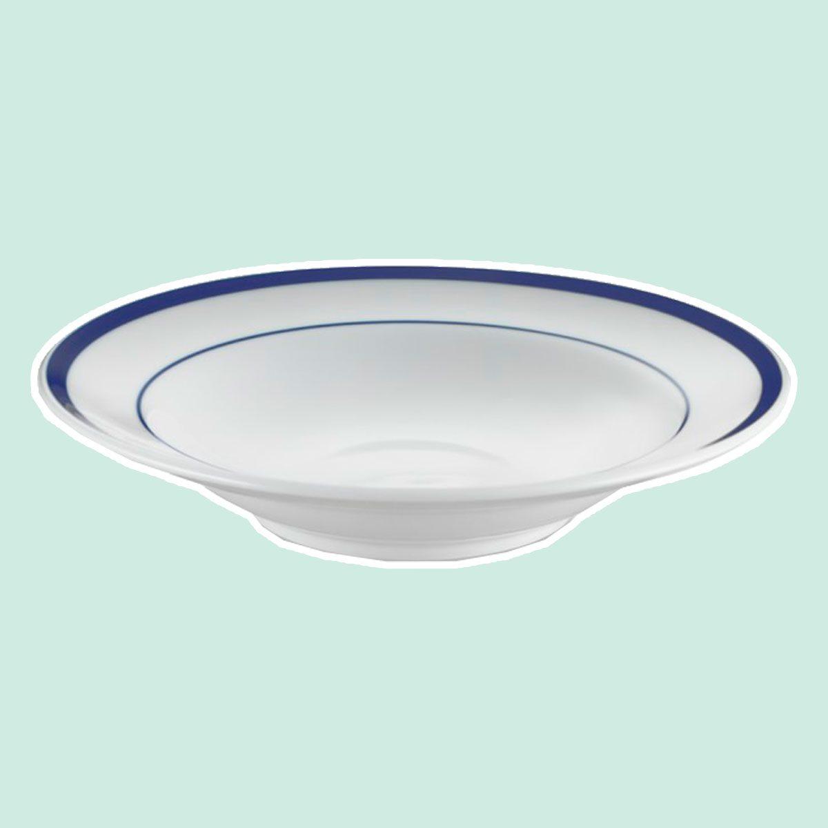 Brasserie Blue-Banded Porcelain Soup Bowls